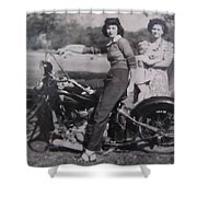 1930's Indian Motorcycle Mama Shower Curtain