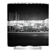 1930s New And Used Car Lot At Night Shower Curtain
