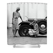 1930s Two Women Confront An Automobile Shower Curtain