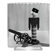1930s Wooden Toy Soldier Next To Cannon Shower Curtain