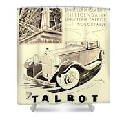 1931 - Talbot French Automobile Advertisement Shower Curtain