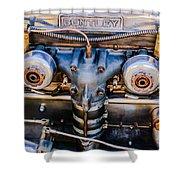 1931 Bentley 4.5 Liter Supercharged Le Mans Engine Emblem Shower Curtain