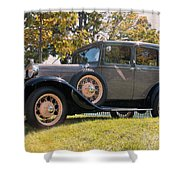 1931 Ford Sedan On Hill At Greenfield Village In Dearborn Michigan Shower Curtain