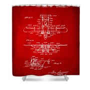 1932 Amphibian Aircraft Patent Red Shower Curtain