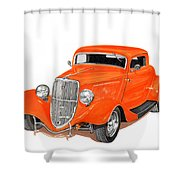 1933 Ford Three Window Coupe Shower Curtain