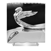 1933 Plymouth Hood Ornament -0121bw Shower Curtain