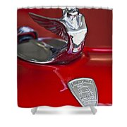 1933 Plymouth Hood Ornament Shower Curtain by Jill Reger