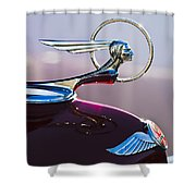 1933 Pontiac Hood Ornament Shower Curtain by Jill Reger