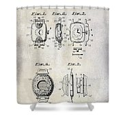 1933 Watch Case Patent Drawing  Shower Curtain