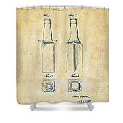 1934 Beer Bottle Patent Artwork - Vintage Shower Curtain