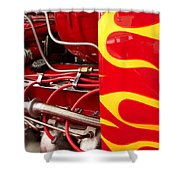 Hot Rod Art Work And Engine Shower Curtain