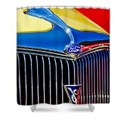 1934 Ford Deluxe Coupe Grille Emblems Shower Curtain