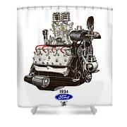1934 Ford Flathead V 8  Shower Curtain