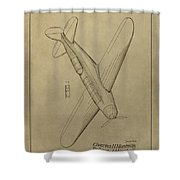 1934 Mail Plane Patent Shower Curtain