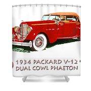 1934 Packard V-12 Dual Cowl Phaeton Shower Curtain