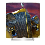 1934 Packard With Posterized Edge Texture Shower Curtain