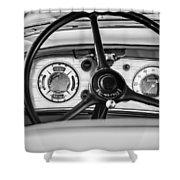 1935 Auburn 851 Supercharged Boattail Speedster Steering Wheel -0862bw Shower Curtain