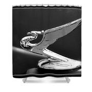 1935 Chevrolet Roadster Dragon Hood Ornament Shower Curtain