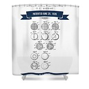 1935 India Rubber Ball Patent Drawing - Retro Navy Blue Shower Curtain