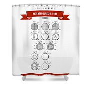 1935 India Rubber Ball Patent Drawing - Retro Red Shower Curtain