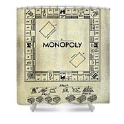 1935 Monopoly Patent Drawing Shower Curtain