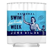 1935 Swim For Health Poster Shower Curtain