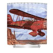 Monument Valley Bi-plane Shower Curtain