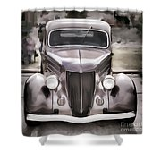 1936 Ford Roadster Classic Car Or Automobile Painting In Color  3120.02 Shower Curtain