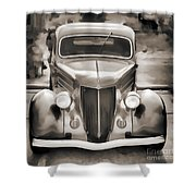 1936 Ford Roadster Classic Car Or Automobile Painting In Sepia  3120.01 Shower Curtain