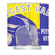 1937 - Plymouth Automobile Advertisement - Color Shower Curtain