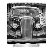 1937 Chevrolet Custom Convertible Bw Shower Curtain