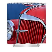 1937 Chevrolet Hood Ornament Shower Curtain by Jill Reger