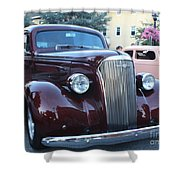 1937 Chevy Two Door Sedan Front And Side View Shower Curtain
