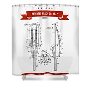 1937 Game Device Patent Drawing - Retro Red Shower Curtain