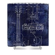 1937 Gibson Electric Guitar Patent Drawing Blue Shower Curtain