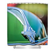 1937 International D-2 Station Wagon Hood Emblem -2652c Shower Curtain