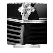 1937 International D2 Pickup Truck Grille Emblem Shower Curtain