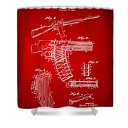 1937 Police Remington Model 8 Magazine Patent Artwork - Red Shower Curtain