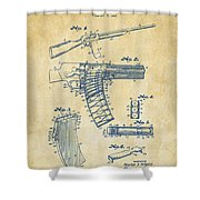 1937 Police Remington Model 8 Magazine Patent Artwork - Vintage Shower Curtain by Nikki Marie Smith