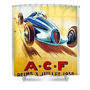 1938 - Automobile Club De France Poster - Reims - George Ham - Color Shower Curtain
