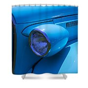 1938 Blue Plymouth Coupe Shower Curtain