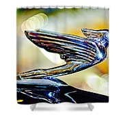 1938 Cadillac V-16 Hood Ornament 2 Shower Curtain by Jill Reger