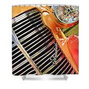 1938 Chevrolet Coupe Grille Emblems Shower Curtain