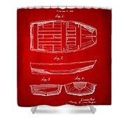 1938 Rowboat Patent Artwork - Red Shower Curtain