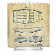 1938 Rowboat Patent Artwork - Vintage Shower Curtain