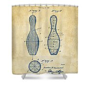 1939 Bowling Pin Patent Artwork - Vintage Shower Curtain