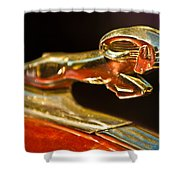 1939 Dodge Business Coupe V8 Hood Ornament Shower Curtain by Jill Reger