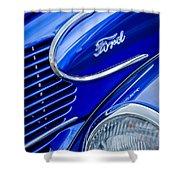1939 Ford Woody Wagon Side Emblem Shower Curtain