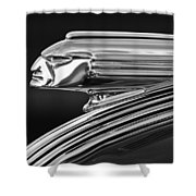 1939 Pontiac Silver Streak Hood Ornament 3 Shower Curtain