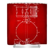 1939 Snare Drum Patent Red Shower Curtain